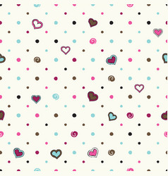 polka dot background with hearts vector image