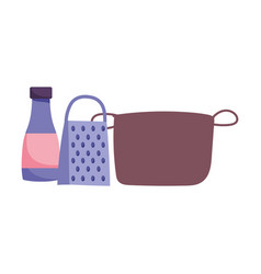 Pot grater sauce bottle and kitchen utensils vector