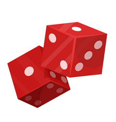 Rolling dice pair flat isolated vector