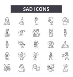 sad line icons signs set outline vector image