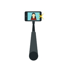 Selfie monopod stick with smartphone icon vector