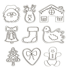 set gingerbread cookies vector image