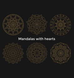 Set gold mandalas with hearts collection symmetric vector