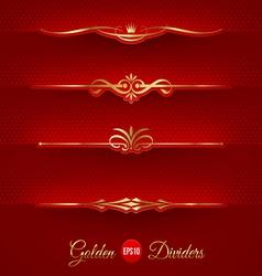 Set of golden decorative dividers vector