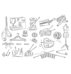 Set of hand drawn sewing and knitting icons vector