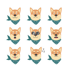 Shiba inu cute cool dog with various emotions flat vector