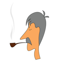 Smoking oldman or color vector