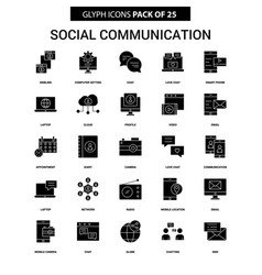 social communication glyph icon set vector image