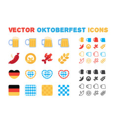 stylish oktoberfest and beer icons set vector image
