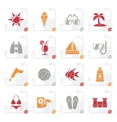 stylized tropic beaches and summer icons vector image
