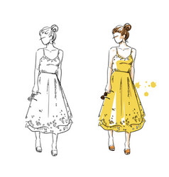 summer look girl in a yellow dress fashion vector image