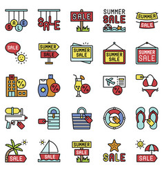summer sale element icon set filled style vector image