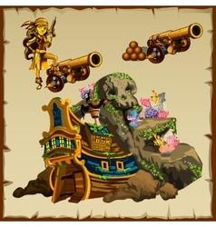 sunken ship gun and figure girl pirates vector image