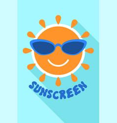 Sunscreen logo flat style vector