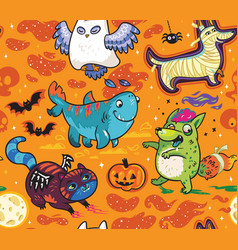 surface pattern with cute cartoon animals vector image
