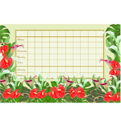 Timetable weekly schedule with blooming lilies vector