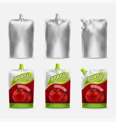 tomato ketchup pack mockup set realistic vector image