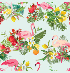 tropical fruits flowers and flamingo background vector image