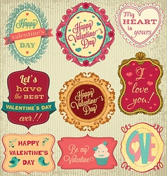 valentines day cards collection on textured vector image