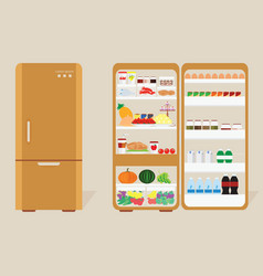 vintage closed and opened refrigerator full of vector image