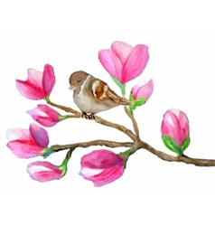 Watercolor painting of bird on branch with vector