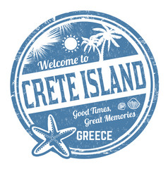 welcome to crete island grunge rubber stamp vector image