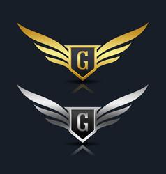 Wings shield letter g logo template vector