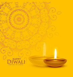 Yellow festival background with diwali diya lamp vector