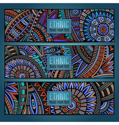 Abstract ethnic vintage pattern cards vector image