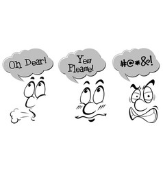 character with expression phrases vector image vector image