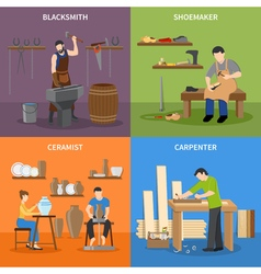 Craftsman Flat 2x2 Icons Set vector image vector image