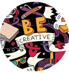 Creative pen idea doodles symbol round color vector image