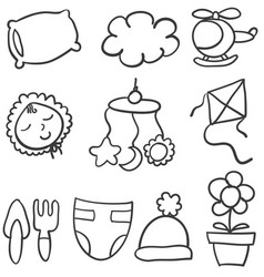 doodle of baby theme stock vector image vector image