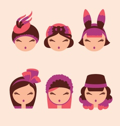 fashion girls in head accessories icon set vector image vector image