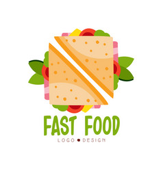 fast food logo design badge with sandwich sign vector image vector image