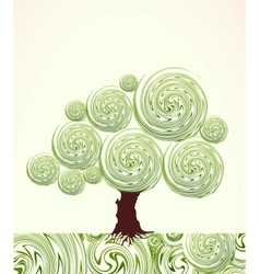 Hand Drawn ornate swirl tree vector image