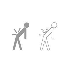 man a with sick back backache icon grey set vector image vector image