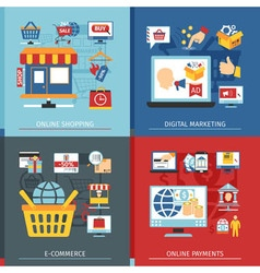 Online Shopping Flat Concept Set vector image vector image