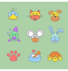 Pets icon set in line style vector image