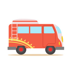 red minivan with cool pattern classic woodstock vector image