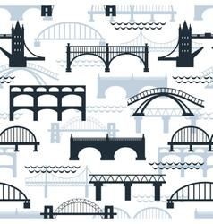Seamless pattern of bridge silhouettes vector
