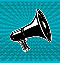 vintage megaphone on pop art style background vector image