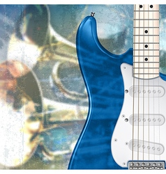 abstract blue grunge music background with vector image vector image