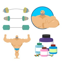 Fitness set Bodybuilder and sports nutrition vector image vector image