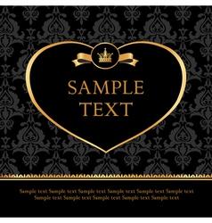 Golden Label Heart on Damask black Background vector image vector image