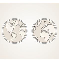 Planet Earth both globes retro sepia vector image