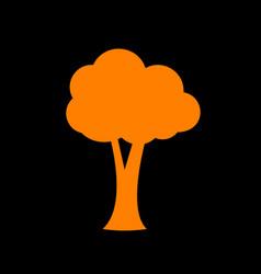 tree sign orange icon on black vector image vector image