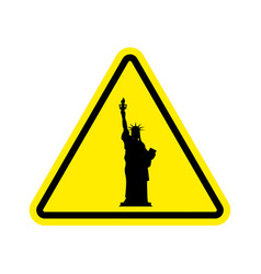 Attention america statue of liberty on yellow vector