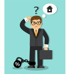 businessman is thinking about taking a loan vector image vector image