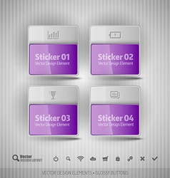 Glossy business stickers design elements for vector image vector image